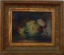 19th C. American Still Life with Peonies Signed