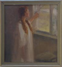 RALPH CLARKSON (1861 - 1942) (Attrib.) Vintage oil with Lady loowing through the window, Listed