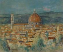 Vintage View of Florence from Piazza Michelangelo, gouache , signed , 20th C.