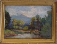 Vintage American Impressionism Pound View Oil, signed ,  1930's