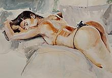 Schulz, Original Watercolor with nude woman signed