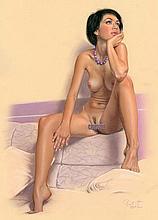 Karmailo - Original art with erotic female nude -signed