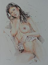 Claudia Ciric, original erotic watercolor, Signed
