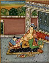 Vintage Old Indian Miniature Kamasutra Mughal