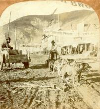 Antique Stereo Photograph - Street Scene Dawson City