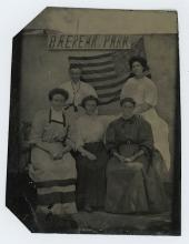BAEREMA PARK with Rare Flag - TINTYPE PHOTO - EARLY 1900'S