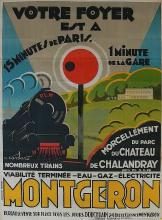 Rare Poster Train Montgeron by Barataud Courteau, 1926