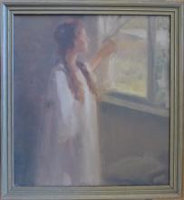 Vintage American Scholl 20th C. oil with Lady looking through the window, Listed