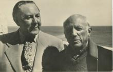 Original Silver Picasso and Vitezlav Nezval, Press photo, Praha, 1954