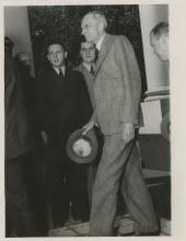 Original Press Silver Photo Henry Ford ariving to the White House, 1938