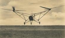 Rare Authentic PC Silver Photo Bi-Rotor German Plane, WWII 1940's