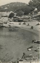 Rare Authentic PC Silver Photo Nudist Beach in France, Post WWII war 1950's