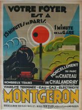 Vintage Antique large french poster with Train by Barataud Courteau, 1926