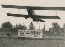 Silver gelatin, Washington's first sightseeing airplane, 1919