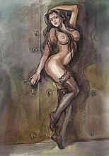 I. Chabanov, Original wc painting erotica, signed