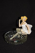 Crafted Resin Nude Pin Up Figure with Retro Girl 11cm high