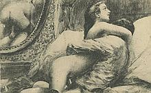 Antique French gravure with erotic handwriting