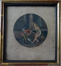 Antique erotic miniature engraving 18th C. Scene