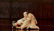 Old Shunga Carved Polychrome Erotica signed