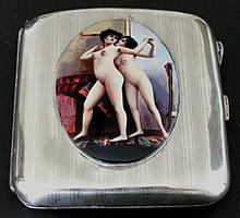 Antique Solid Silver Cigarette Case  with two nudes