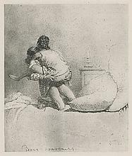 Mihaly Zichy, Antique Heliogravure Etching erotic Scene