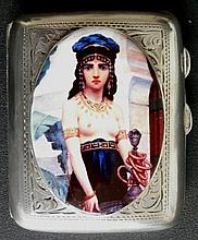 Antique Solid Silver Cigarette Case  with Orientalist Nude