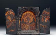17th C. Greek 3-Panel Icon, Second Coming of Christ