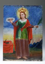 19th C. Mexican Retablo - Santa Lucia