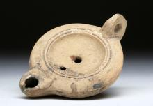 Late Roman Mass Produced Pottery Oil Lamp