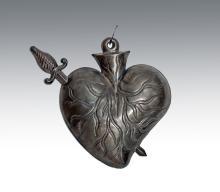 Antique Mexican Silver Dagger through Heart Milagro
