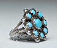 Zuni Petit Point Turquoise and Silver Ring, Size 4-1/2