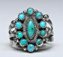 Zuni Petit Point Turquoise and Silver Ring, Size 6