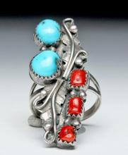 Zuni Coral, Turquoise, and Silver Ring - Feather Motif