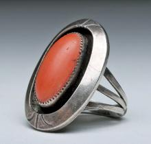 Zuni Ring - Silver with Oval Coral Cabochon