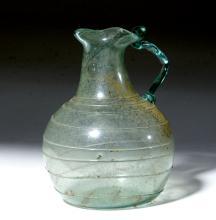 Roman Glass Pitcher w/ Trefoil Lip, Applied Ribbons