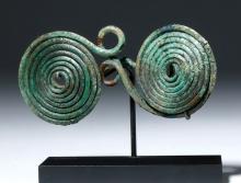 European Hallstatt Bronze Spectacle Fibula (Brooch)