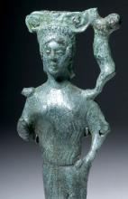 Rare Etruscan Bronze Mirror Handle - Caryatid & Feline