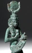 Egyptian Bronze Figure of Isis and Horus
