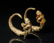 Pair of Roman 18k+ Gold Cherub Earrings