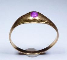 14th C. Medieval 18K+ Gold / Ruby Stirrup Ring