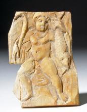 Rare Coptic Bone Plaque - Man w/ Fish & Crook