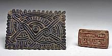 Lot of 2 Pre-Columbian Clay Stamps