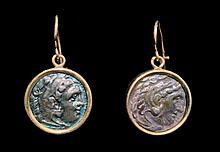 Pr Greek Silver Drachma Earrings - Alexander the Great