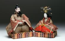 Pr Japanese Meiji Period Hina Dolls - Emperor,  Empress