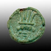 Greco-Egyptian Faience Seal, Bes & Eye of Horus