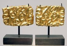 Pr. Ancient Scythian Rare Gold Ibex Head Appliques