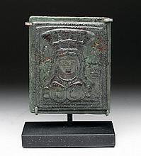 Roman Bronze Votive Plaque - Bust of Cybele