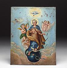 Antique Mexican Tin Retablo - La Inmaculada