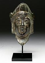 Exhibited Roman Bronze Theater Mask of a Goddess