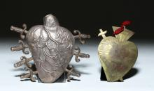 Two Large Heart Milagros - Silver and Brass